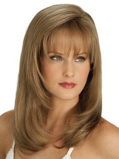 Mature Lace Front Straight Synthetic Long Wigs
