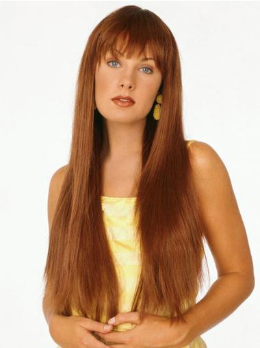 Polite Synthetic Straight Auburn Long Wigs