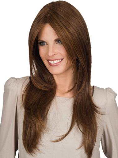 Refined Synthetic Straight Brown Long Wigs