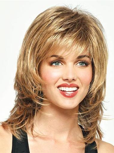 Blonde Straight Synthetic High Quality Medium Wigs