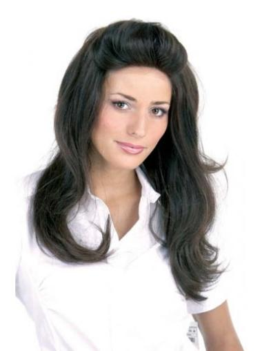 Convenient Black Straight Long Lace Front Wigs