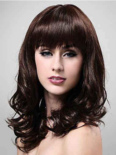Brown Wavy Synthetic Stylish Medium Wigs
