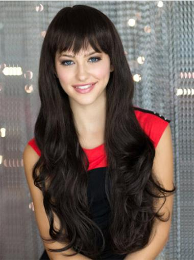 Gentle Synthetic Wavy Black Long Wigs
