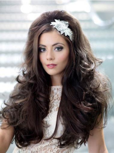 Mature Brown Wavy Long 3/4 & Half Wigs