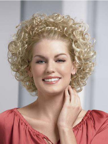 Tempting Blonde Curly Chin Length 3/4 & Half Wigs