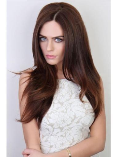 Polite Auburn Straight Long 3/4 & Half Wigs