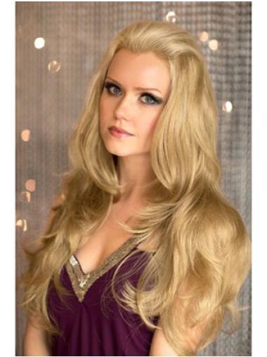 Convenient Blonde Wavy Long 3/4 & Half Wigs