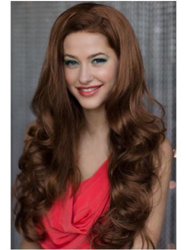 Fashionable Auburn Wavy Long 3/4 & Half Wigs