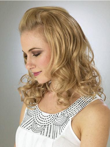 Fashion Blonde Wavy Shoulder Length 3/4 & Half Wigs