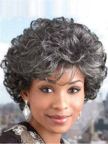 Cosy White Curly Short Grey Wigs
