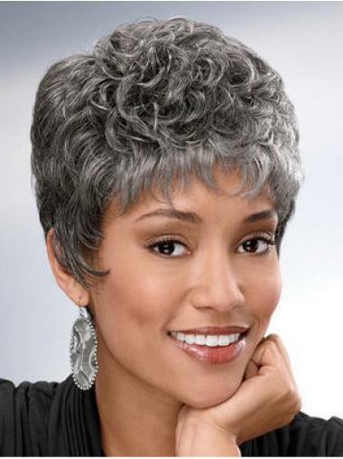 Fashionable White Curly Short Grey Wigs