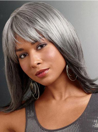 Discount Lace Front Straight Long Grey Wigs