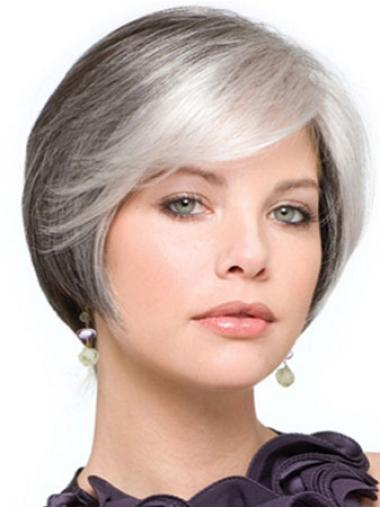 Impressive Lace Front Straight Short Grey Wigs