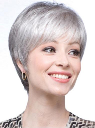 Soft Lace Front Straight Short Grey Wigs