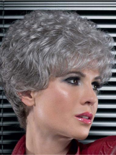 Sassy Lace Front Curly Short Grey Wigs