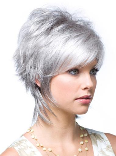 Easy Lace Front Wavy Short Grey Wigs