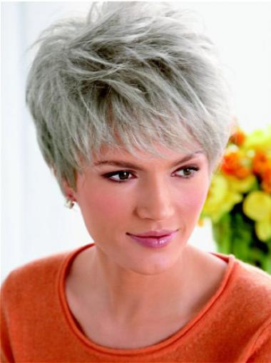 Fashion Lace Front Straight Cropped Grey Wigs