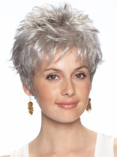 Traditiona Lace Front Wavy Cropped Grey Wigs