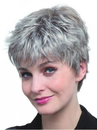 Graceful White Straight Cropped Grey Wigs