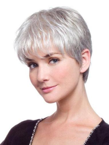 Discount Lace Front Straight Short Grey Wigs