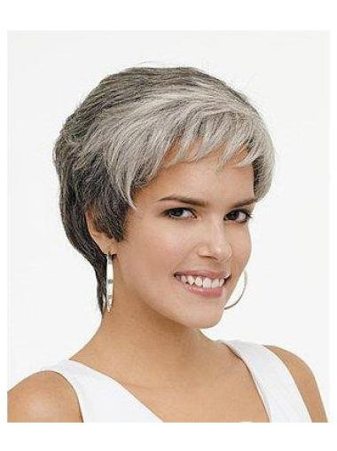 Easeful Lace Front Wavy Short Grey Wigs