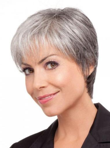 Convenient Lace Front Straight Short Grey Wigs