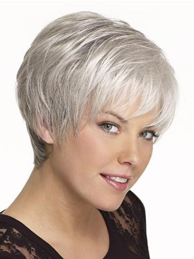 Affordable White Straight Cropped Grey Wigs