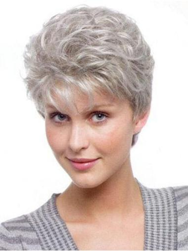 Natural White Wavy Short Grey Wigs