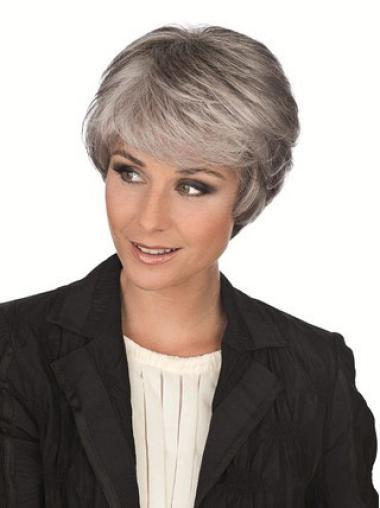 Tempting White Straight Short Grey Wigs