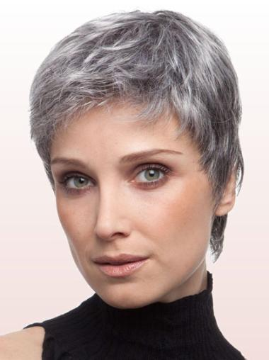 Cheap Lace Front Straight Cropped Grey Wigs