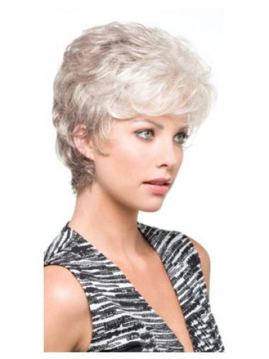 Gentle White Wavy Short Grey Wigs