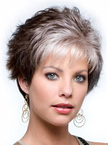 Ideal White Wavy Cropped Grey Wigs