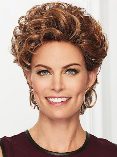"""Cropped Copper Without Bangs Curly 4"""" Synthetic Lace Front Wigs"""