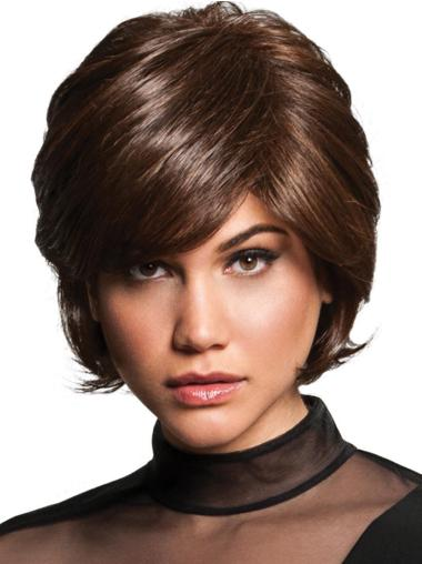 "8"" Short Wavy Capless Brown Designed Synthetic Wigs"