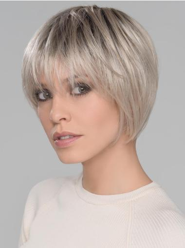 Synthetic With Bangs Designed Platinum Blonde Straight Short Mono Wigs