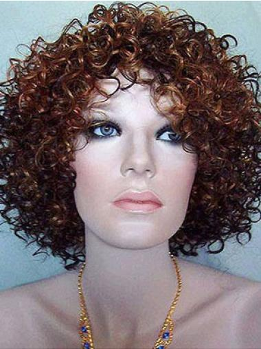 Gorgeous Auburn Curly Chin Length Synthetic Wigs