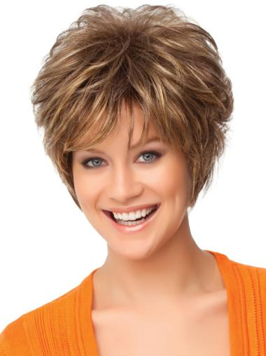 Nice Auburn Curly Short Synthetic Wigs