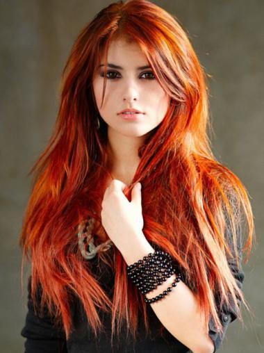 Sleek Long Straight Capless Copper Wigs 22 Inch