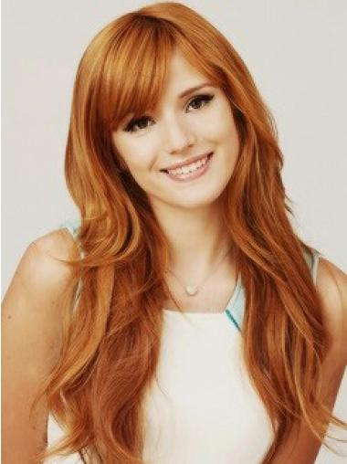 Comfortable Long Wavy Hand Tied Copper Wigs 22 Inch