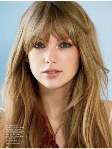 High Quality Long Straight Blonde With Bangs Taylor Swift Inspired Wigs
