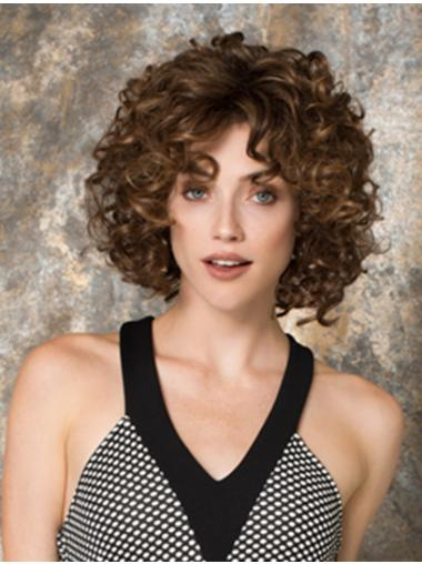 Chin Length Curly Auburn Top Lace Front Wigs