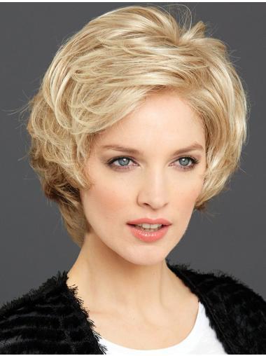 Short Wavy Blonde Durable 100% Hand-tied Wigs