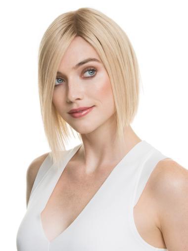 Chin Length Straight Blonde High Quality Human Hair Wigs