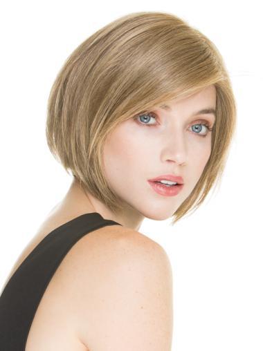 Chin Length Straight Blonde Modern Human Hair Wigs