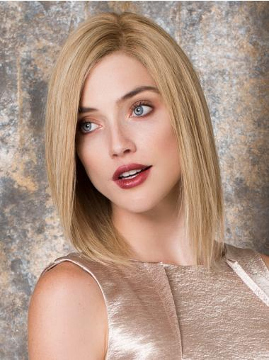 Shoulder Length Straight Blonde Hairstyles Human Hair Wigs