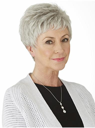 Short Straight White Style Grey Wigs