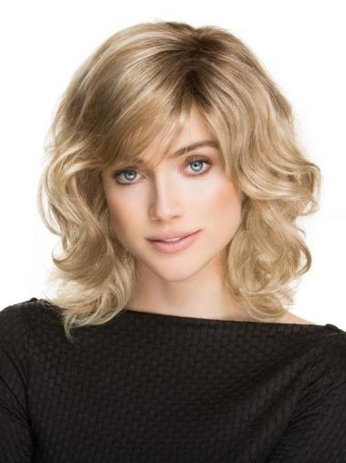 Shoulder Length Wavy Blonde Ideal Classic Wigs
