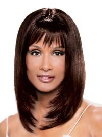 Beverly Johnson Young and Modern Mid-length Layered Straight Lace Front Human Hair Wig with Bangs