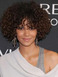Halle Berry Elegant and Fair Short Voluminous Spiral Curls Glueless Lace Human Hair wig