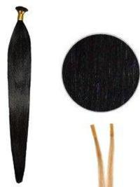Mature Black Straight Stick/I Tip Hair Extensions